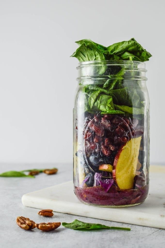 Blueberry Pecan Superfood Mason Jar Salad