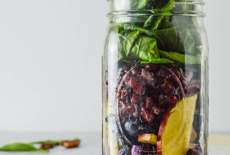 Blueberry Pecan Superfood Mason Jar Salad