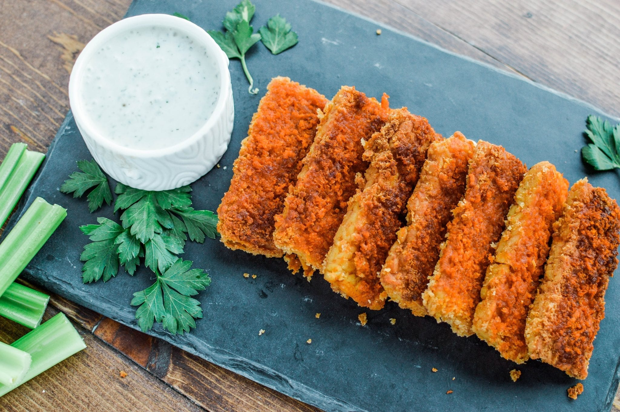 buffalo tempeh chik'n tenders with vegan ranch dip