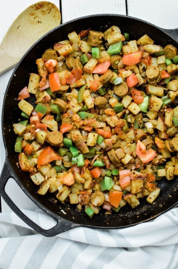Vegan Sausage Breakfast Skillet overhead