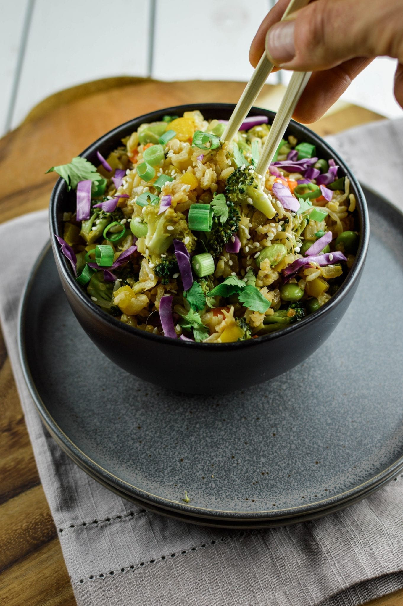 Veggie Fried Rice with Tropical Tahini Sauce