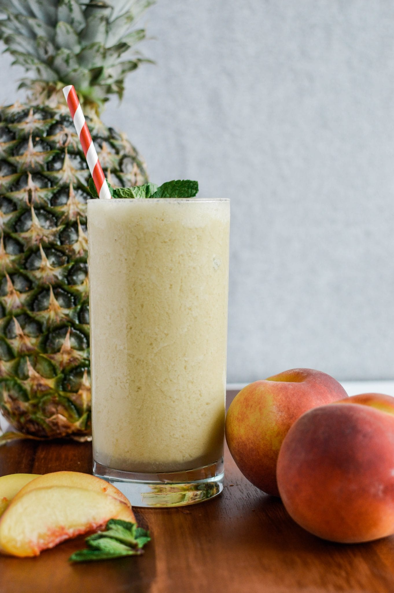 A Refreshing Peach Mint Pineapple Smoothie