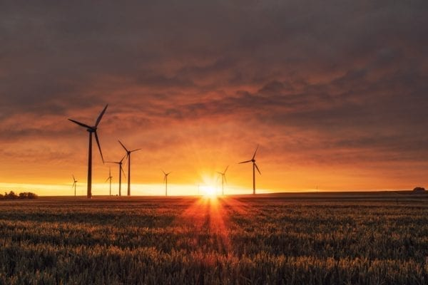 sunset over a field with renewable energy turbines
