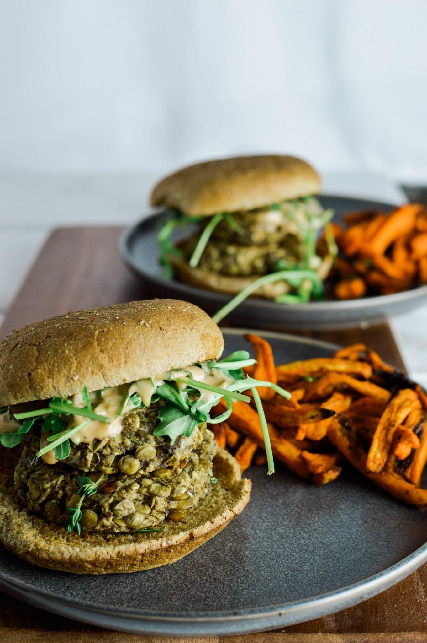 Savory Vegan Mushroom Lentil Burger