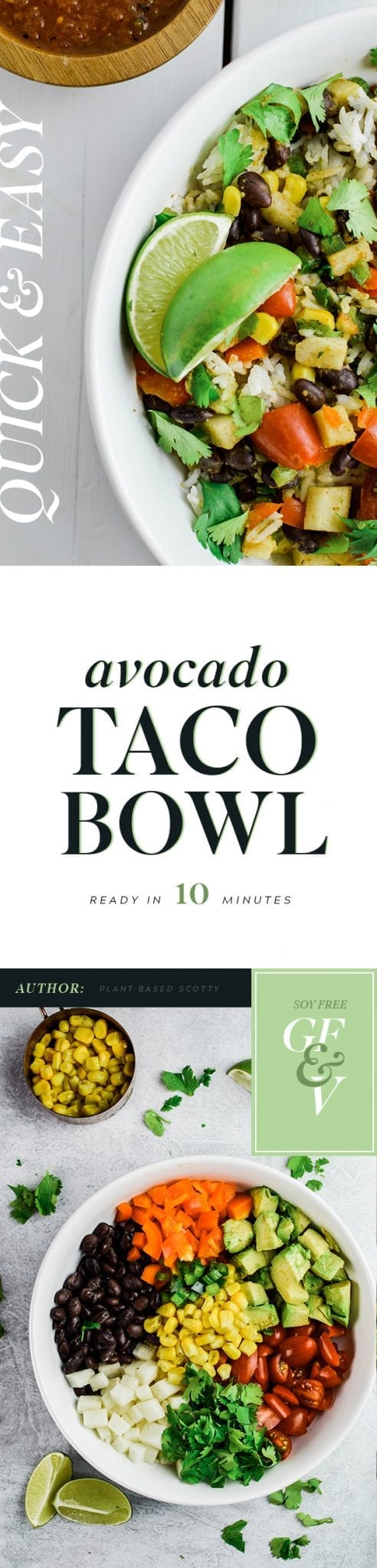 Quick and Easy 10-minute Avocado Taco Bowl | Vegan | Gluten-Free | Soy-Free