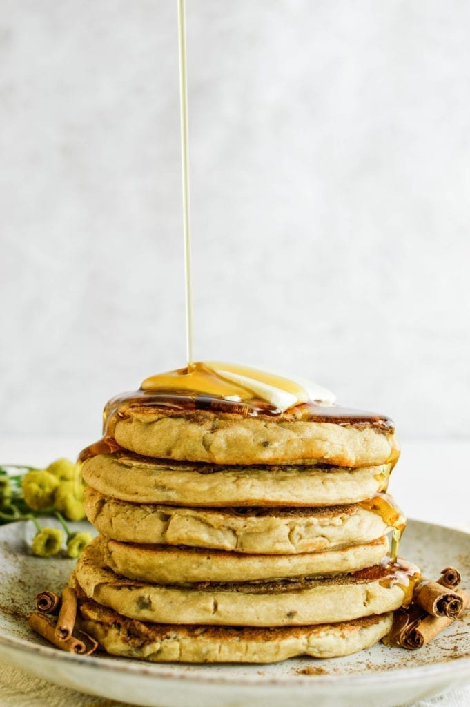 Sweet and Delicious Cinnamon Swirl Protein Pancakes | Vegan | Dairy-Free