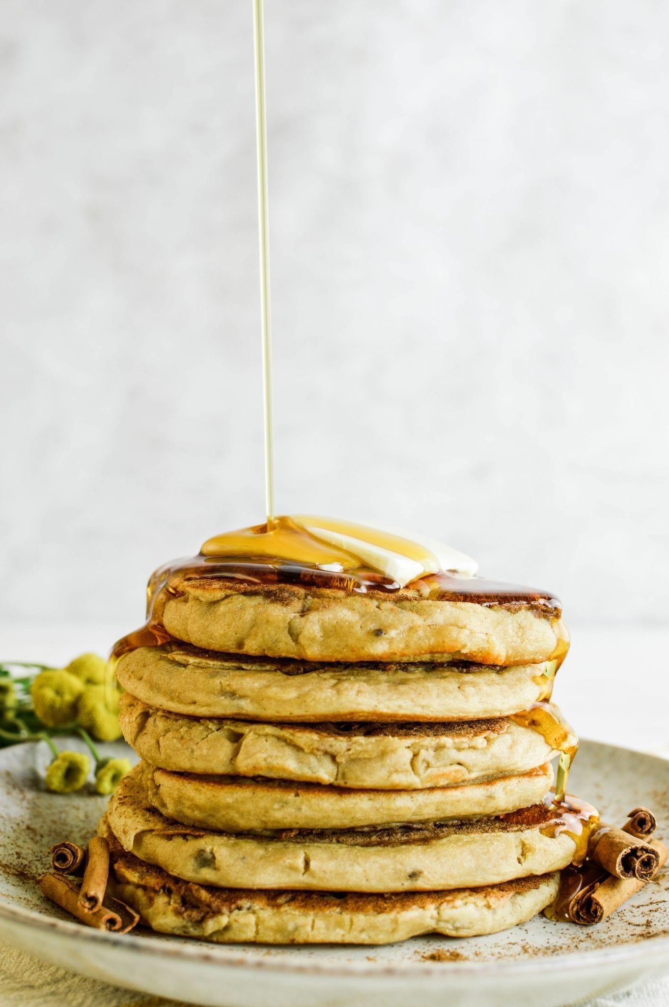 Sweet and Delicious Cinnamon Swirl Protein Pancakes   Vegan   Dairy-Free