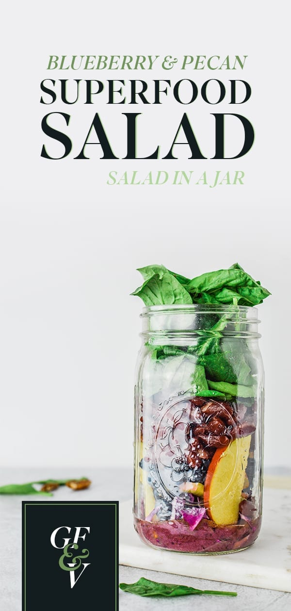 Blueberry Pecan Superfood Mason Jar Salad Pinterest Image