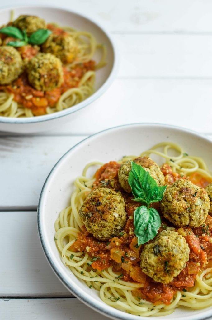 Chickpea Meatballs and Spaghetti with Homemade Marinara Sauce   Vegan   Gluten Free   Soy Free   Oil Free