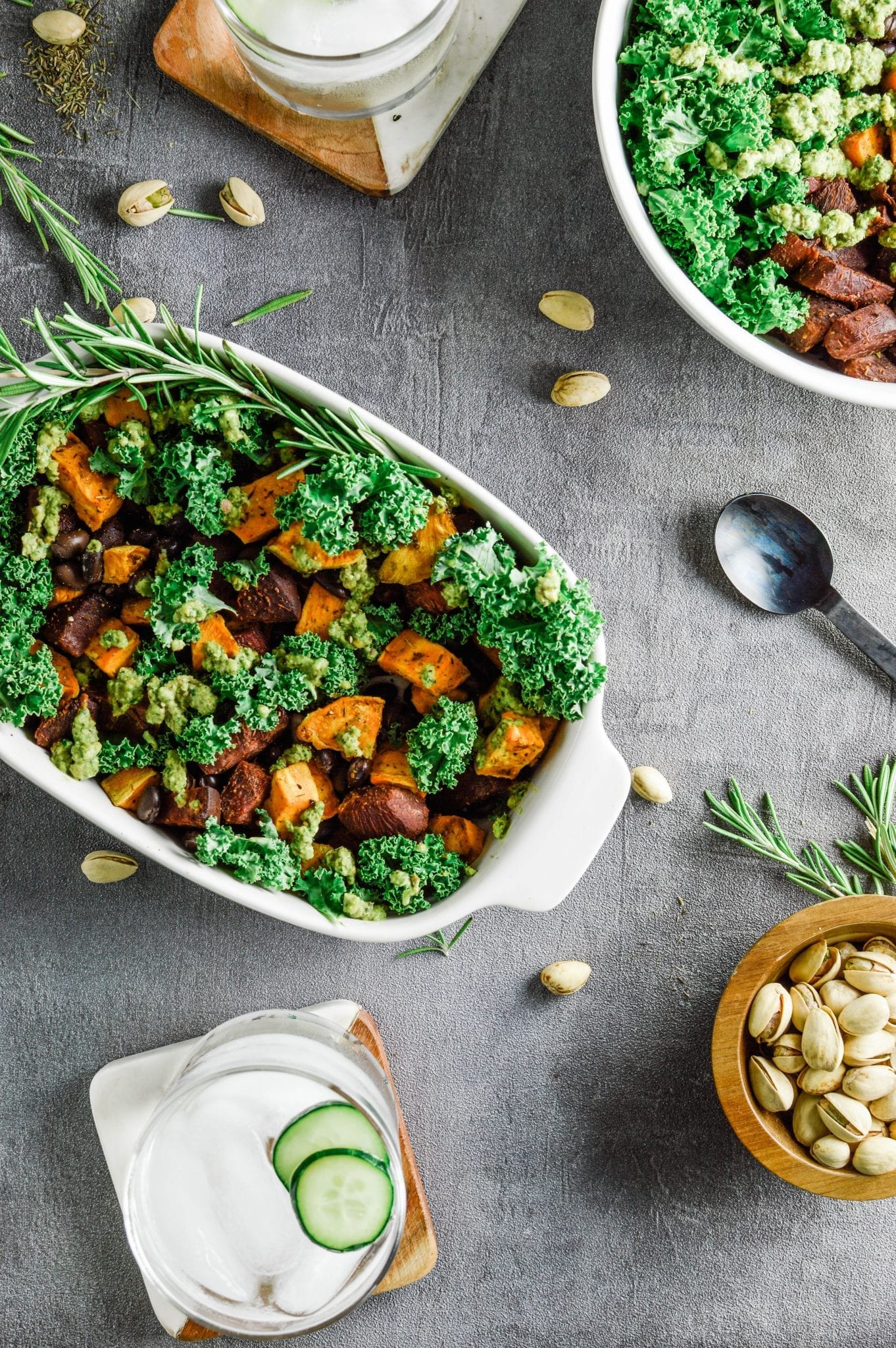 Healthy and Filling Sweet Potato Beet Buddha Bowl with Pistachio Pesto | Vegan | Soy-Free