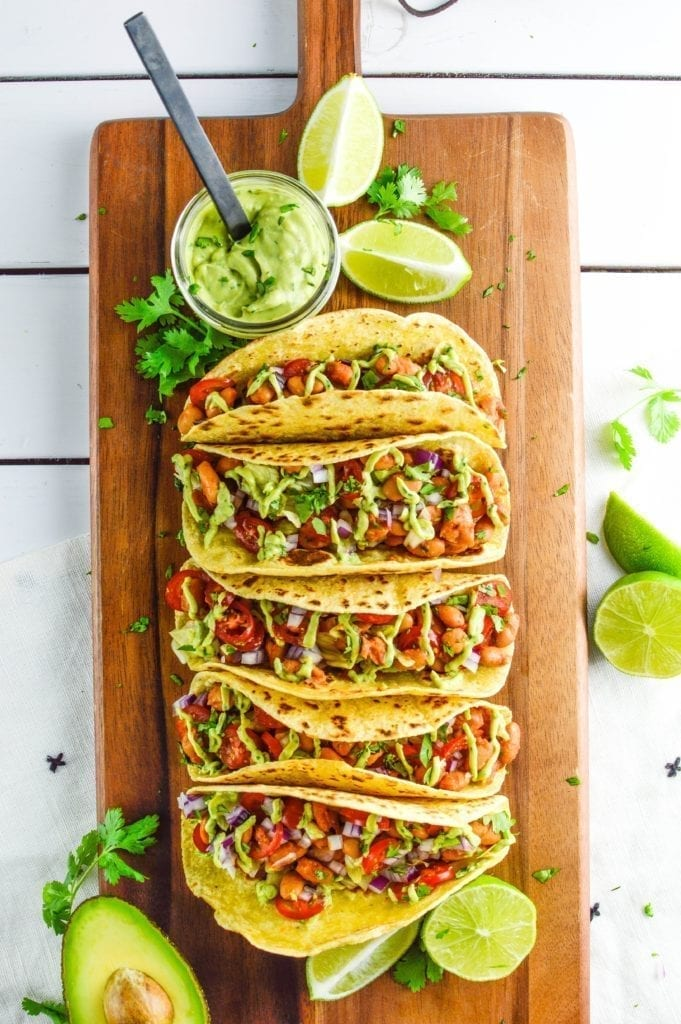 Chipotle Pinto Bean Tacos with Creamy Avocado Sauce | Vegan | Gluten-Free