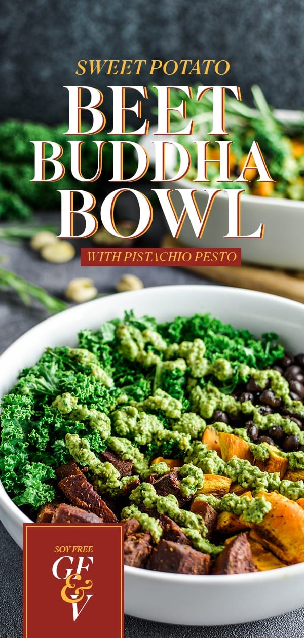 Sweet Potato Buddha Bowl with Pistachio Pesto | Vegan | Soy-Free | Gluten-Free
