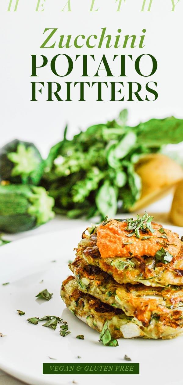 Healthy Zucchini Potato Fritters | Vegan | Gluten-Free