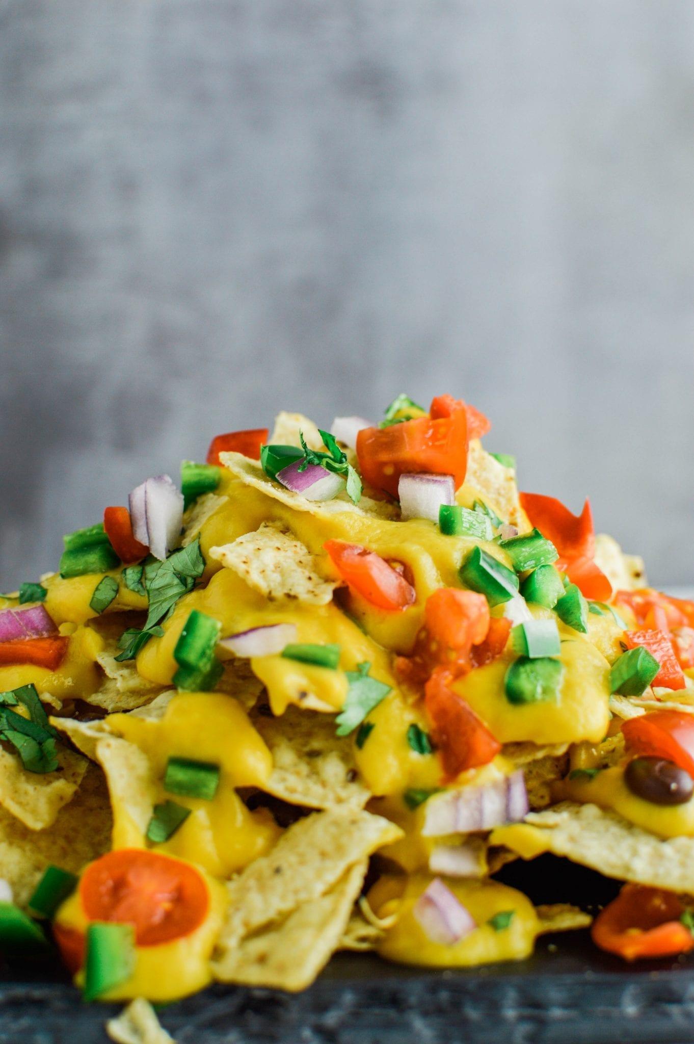 Loaded Vegan Nachos   Gluten Free   Cheezy & Delicious