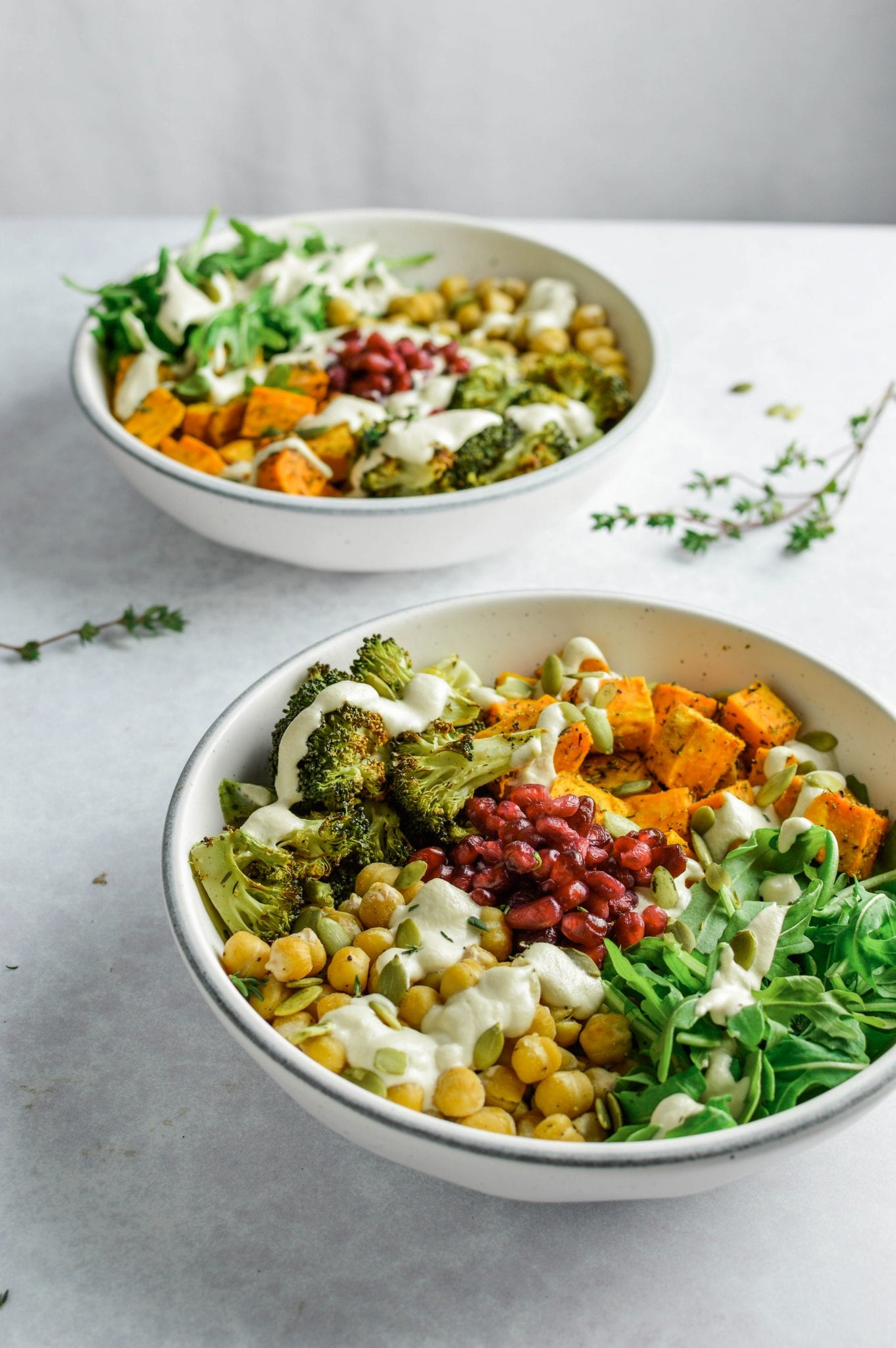 Roasted Vegetable & Chickpea Harvest Bowl | Gluten Free | Oil Free Option