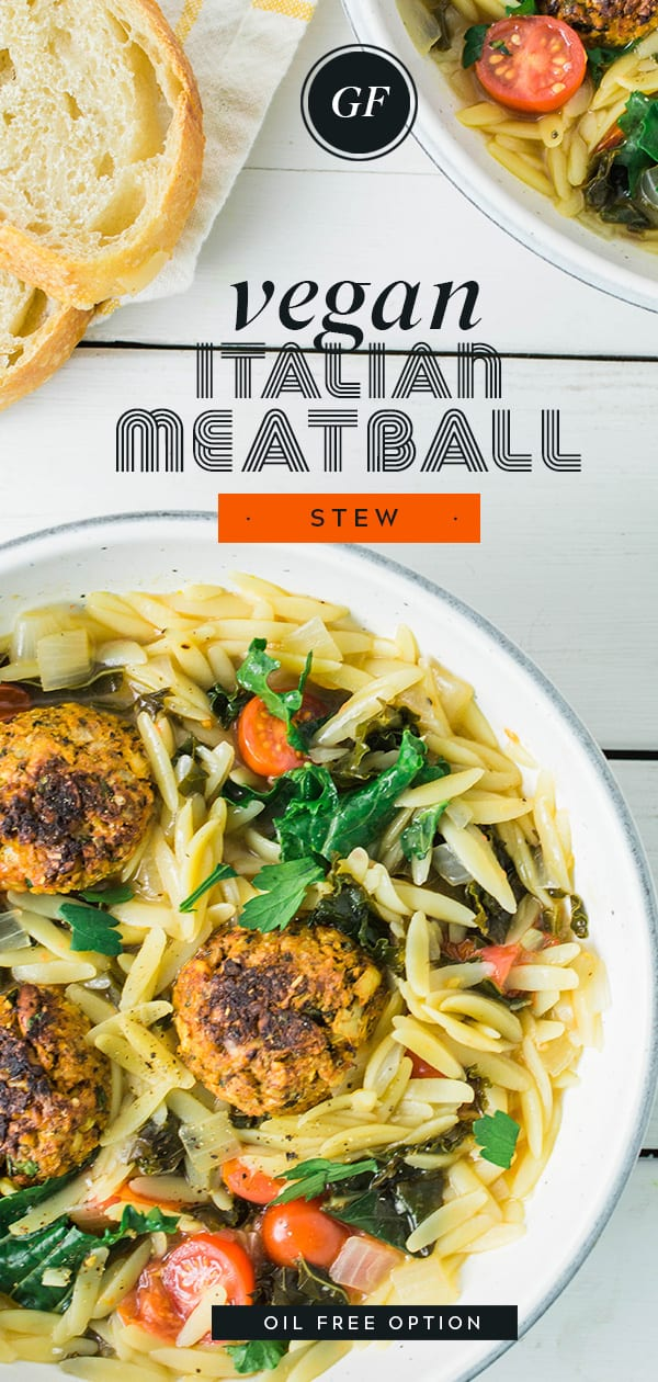 Vegan Italian Meatball Stew | Gluten Free | Oil Fee Option
