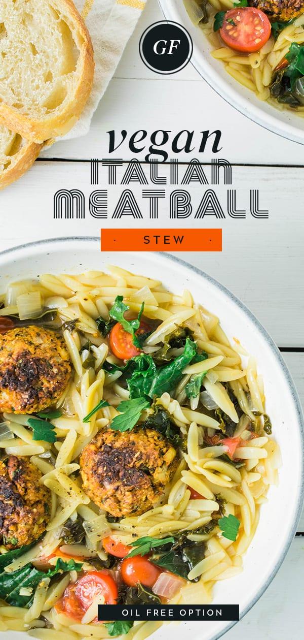Vegan Italian Meatball Stew   Gluten Free   Oil Fee Option